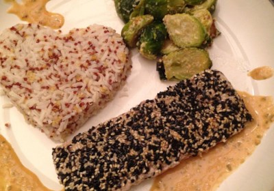 Sesame Crusted Mahi Mahi with Soy Shiso Ginger Butter Sauce