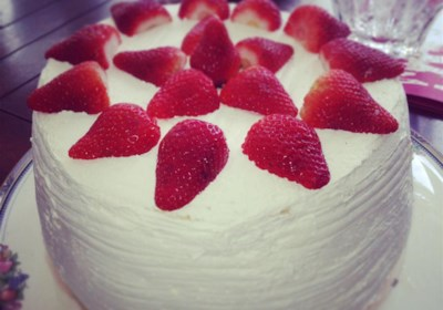 Carry Cake with Strawberries and Whipped Cream