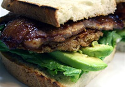 Grilled Pork Belly BLT with Fried Tomatoes and Avocado