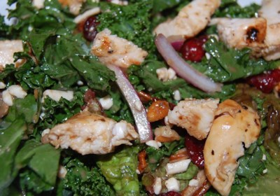 Kale, Swiss Chard, Chicken, and Feta Salad