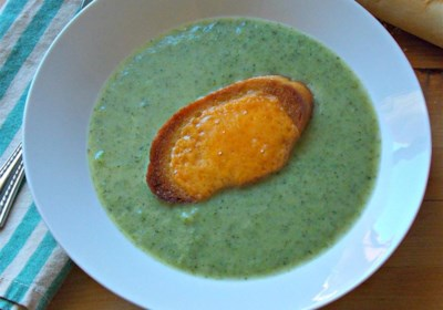 Simple Broccoli Soup with Cheddar Croutons