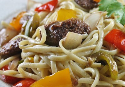 Linguine with Peppers and Sausage