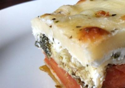 Roasted Vegetable Lasagna with Pesto Cream Sauce