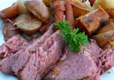 Stout Slow Cooker Corned Beef and Veggies