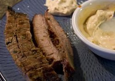 Easy BBQ Flank Steak with Chipotle Mayo