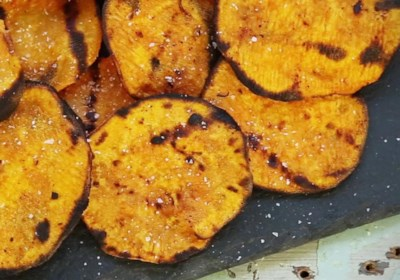 Grilled Spicy Sweet Potato Chips