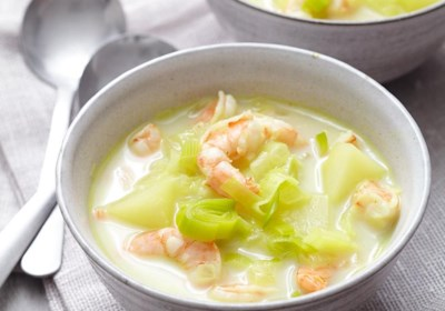 Leek and Potato Soup with Shrimp