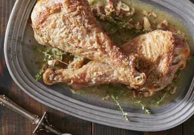 Skillet Turkey with Bacon and White Wine