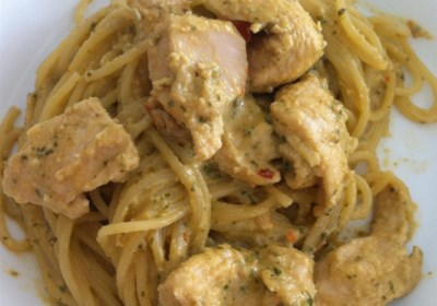 Phenomenal Chicken and Pasta in Creamy Pesto Sauce