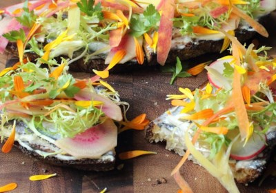 Spring Vegetable Tartine with White Anchovies
