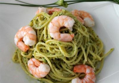 Light Shrimp and Pesto Pasta