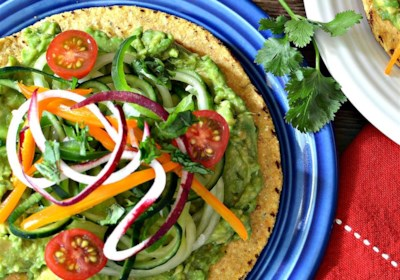 Spiralized Cucumber and Jicama Tostada Salad with Avocado