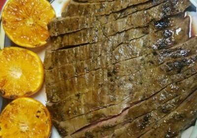Garlic Fennel Flank Steak with Oranges