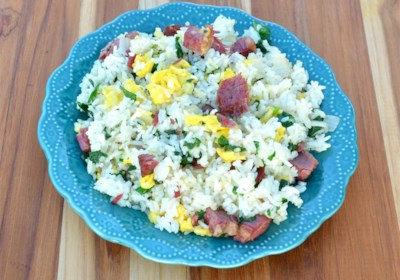 Fried Rice with Corned Beef, Spinach, and Eggs