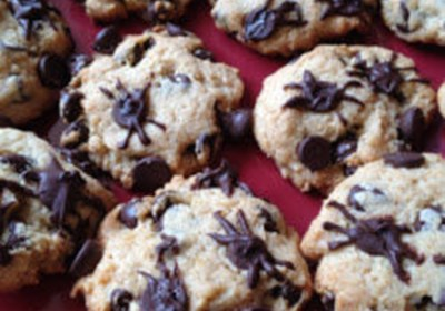 Halloween Chocolate Chip Cookies with Spiders