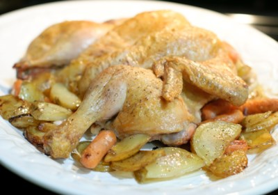 Roasted Spatchcocked Chicken with Potatoes