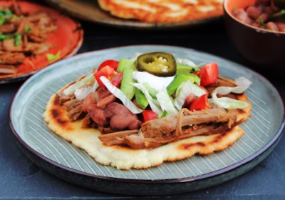 Fry Bread Tacos with Spicy Shredded Beef