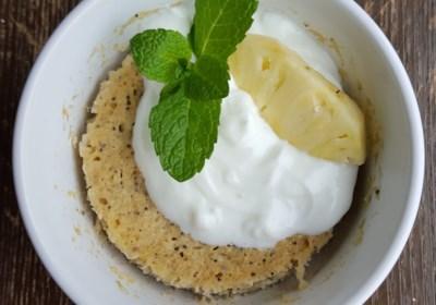 Vegan Mug Cake with Pineapple and Mint