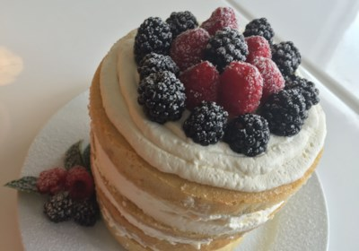 Naked Vanilla Cake with Mascarpone and Berries