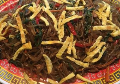 Korean Sweet Potato Noodles (Japchae)