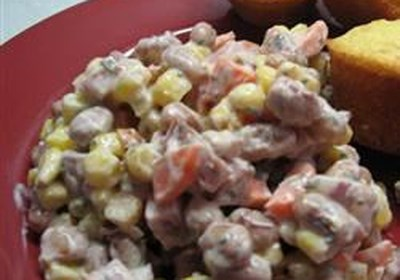 Spicy Creamy Cajun Ham and Black Eyed Peas Salad
