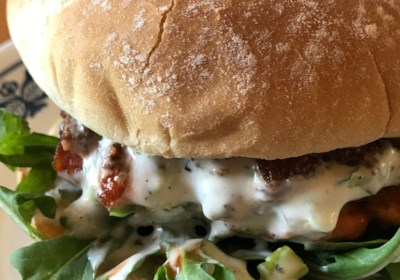 Fresh Salmon Burgers with Lemon-Yogurt Sauce