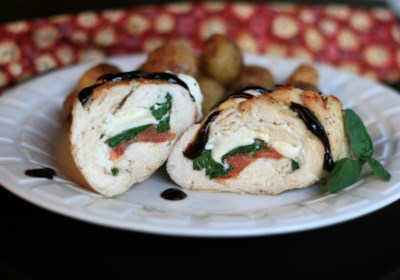 Caprese-Stuffed Chicken Breast with Balsamic Reduction