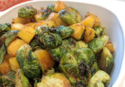 Sheet Pan Vegan Roasted Brussels Sprouts and Butternut Squash
