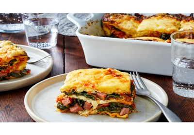 Smoked Sausage, Pumpkin, and Collard Greens Lasagna
