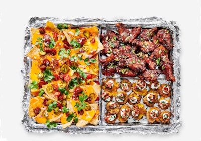 Sheet Pan Nachos, Sticky Sesame Ginger Wings, and Smashed Loaded Potatoes from Reynolds Wrap®