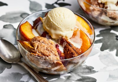 Peach Cobbler with Buttermilk Ice Cream