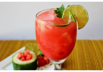 Watermelon and Cucumber Juice with a Spritz of Lime