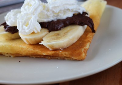 Nutella®, Banana, and Whipped Cream-Filled Crepes