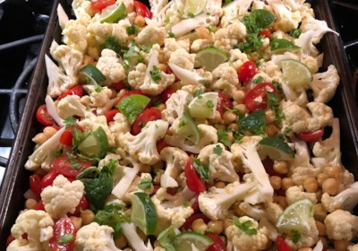 Easy Vegan Sheet Pan Roasted Cauliflower, Tomatoes, and Garbanzo Beans