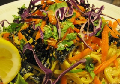 Spicy Tahini Sauce with Kale, Sea Vegetables, and Soba Noodles