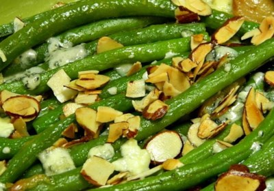 """Green Bean """"Almondine"""" with Garlic and Blue Cheese"""