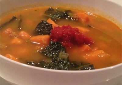 Paleo Chorizo Sweet Potato and Kale Stew