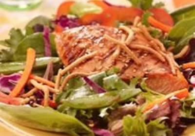 Grilled Salmon, Snap Peas and Spring Mix Salad with Chow Mein Noodles