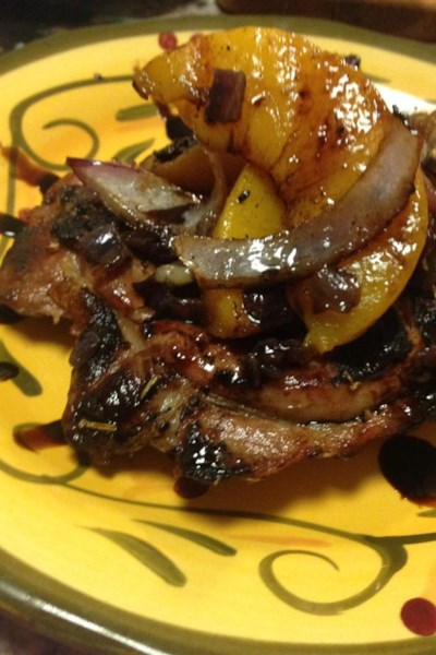 Grilled Pork Chops with Balsamic Caramelized Pears