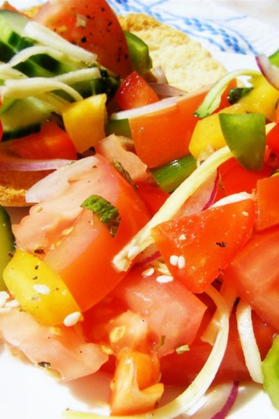 Colorful Tomato Salad with Rose Water Dressing