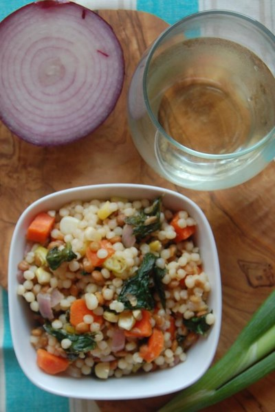 Pearl Couscous with Lentils, Carrots, Spinach, and Corn