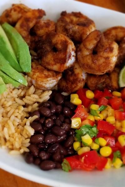 Grain Bowl with Blackened Shrimp, Avocado, and Black Beans