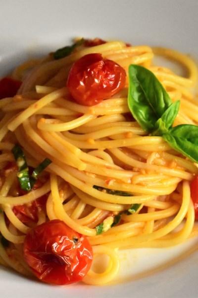 Roasted Cherry Tomato Sauce with Spaghetti