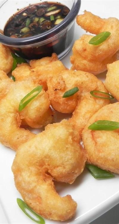 Tasty Shrimp Tempura and Sake Dipping Sauce