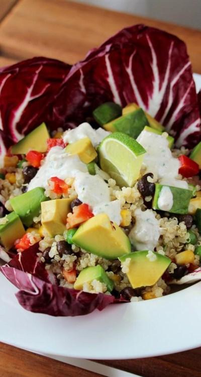 Vegan Mexican Quinoa Bowl with Green Chile Cilantro Sauce