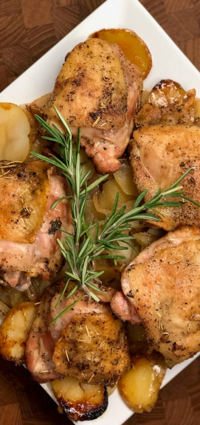 Rosemary-Roasted Chicken with Apples and Potatoes
