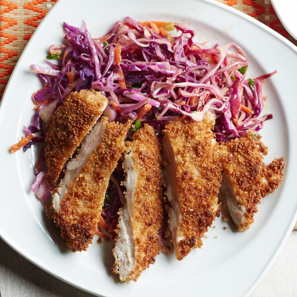 This crispy Japanese chicken recipe comes complete with a creamy warm slaw on the side. Serve with steamed brown rice or buckwheat soba noodles to round out the meal. We like to use chicken cutlets made with dark-meat chicken thighs—they have more than twice the immune-boosting zinc of white-meat chicken breasts.