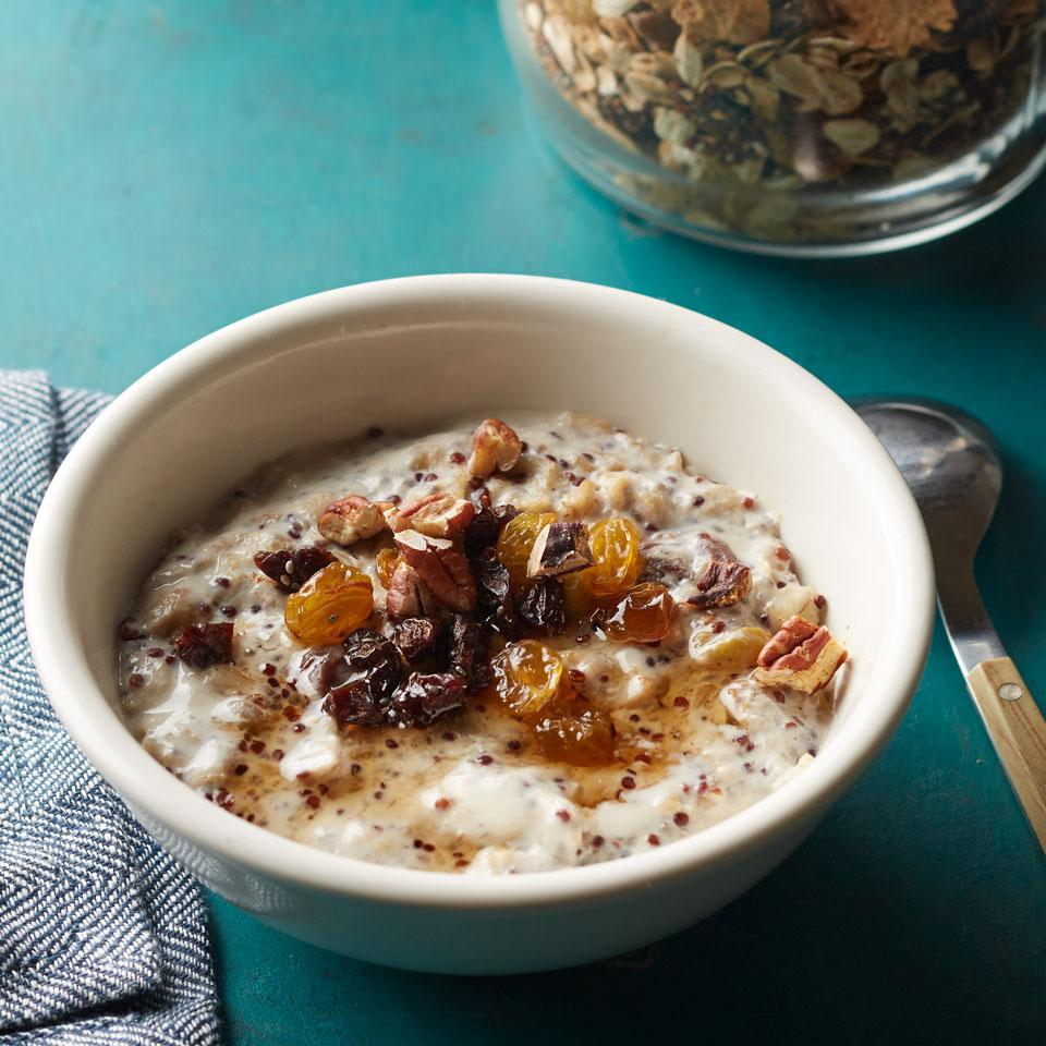Make your own hot cereal mix with this healthy recipe. Keep it on hand and just cook up the amount you need when you're ready for a hot breakfast. One serving of the warm cereal contains 6 grams of fiber—almost a quarter of your daily quota-which helps stave off hunger throughout the morning.