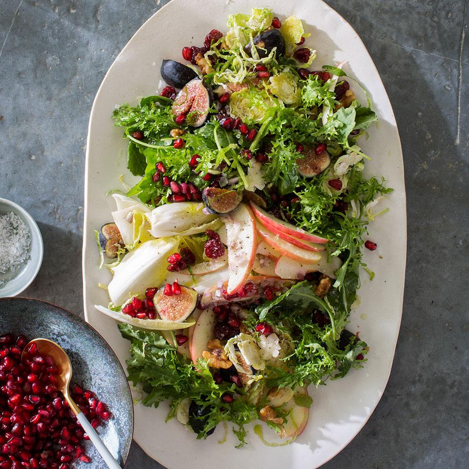 Salad dressing made from sweet and mellow white balsamic vinegar balances out the assertive greens and Brussels sprouts in this healthy winter salad. If you have one handy, a small mandoline makes it easy to slice the Brussels and apple.