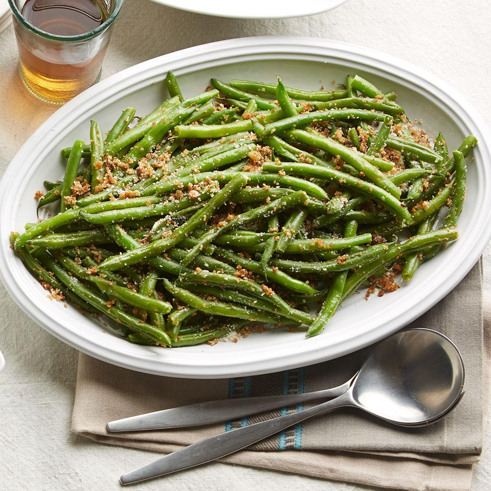 In this easy green bean recipe, browning the butter before tossing it with the breadcrumbs produces a nice nutty flavor. Serve this green bean dish as a healthy alternative to green bean casserole or as an easy side with steak, chicken or fish.